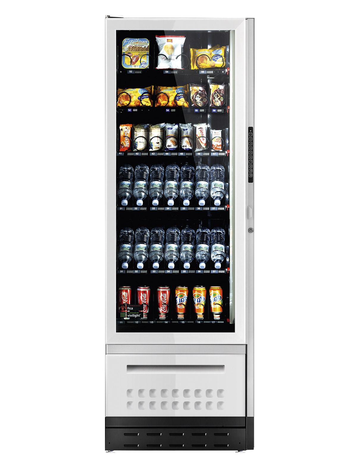 Großer Vending Snackautomat mit einer Auswahl an Getränken und Snacks