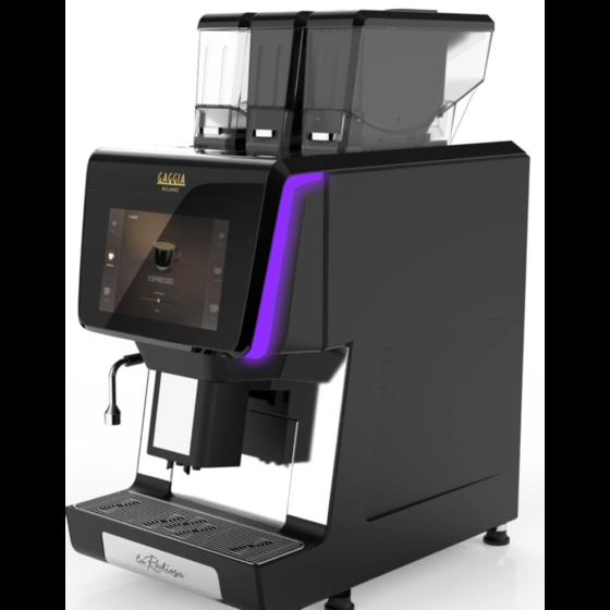 schwarzer Kaffeevollautomat Gaggia La Radiosa mit 3 Bohnen/Pulverbehältern und großem Touchscreen Display