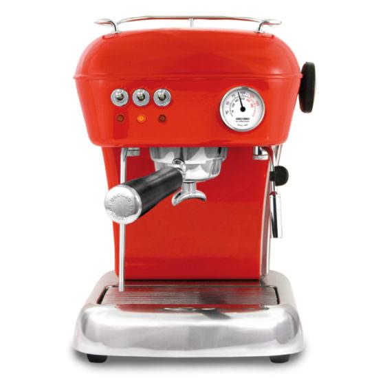 kleine rote Siebträgerkaffeemaschine Ascaso Dream