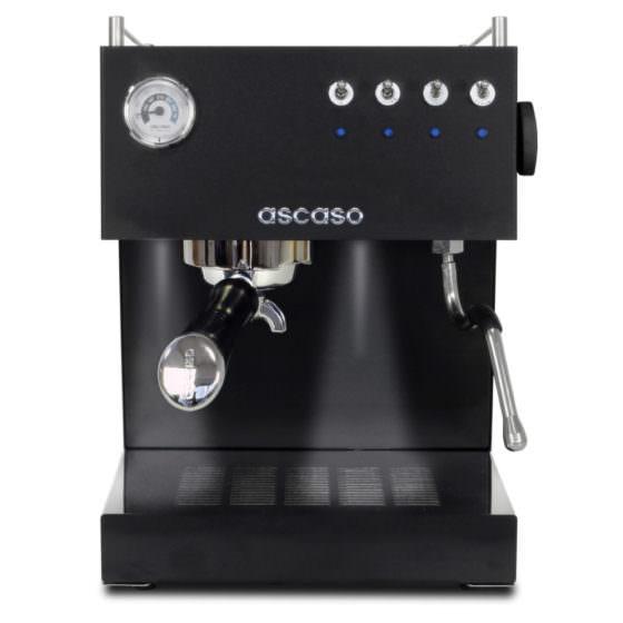 schwarze kleine Siebträgermaschine Ascaso Steel Uno schwarz