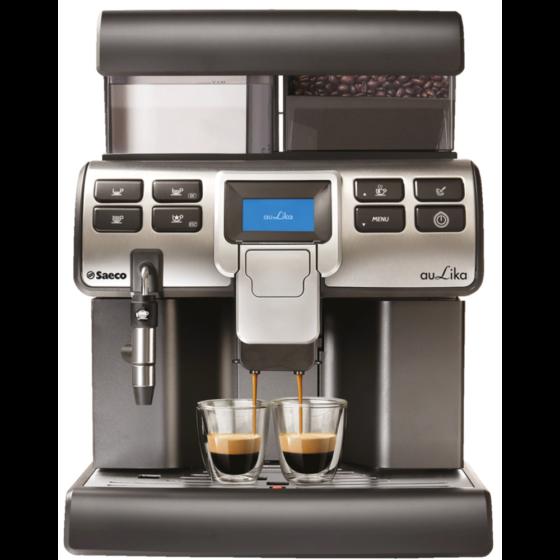 silbern schwarzer Profi-Kaffeevollautomat Saeco Provenero Aulika mit 2 Gläsern Kaffee