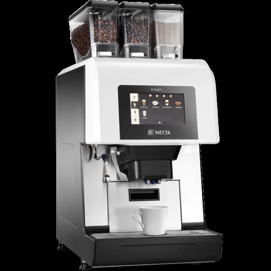 silbern schwarzer Profi-Kaffeevollautomat mit 3 Bohnen/Pulverbehältern und großem Touchscreen Display