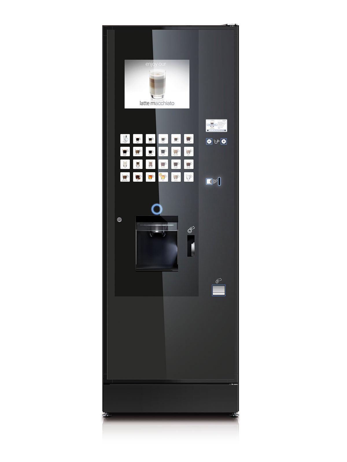 Frontalaufnahme eines Vendinggeräts mit großer Auswahl an auswählbaren Kaffee- und Teesorten