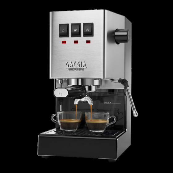 silberne Siebträgermaschine Gaggia New Classic mit 2 Tassen Kaffee